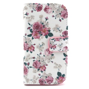 Wallet Leather Phone Case for Galaxy Ace Style LTE G357FZ / Ace 4 SM-G357FZ - Peonies
