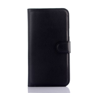 Litchi Skin Leather Stand Case for Samsung Galaxy J7 SM-J700F - Black