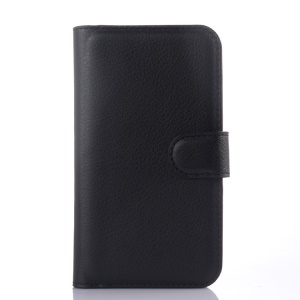 Litchi Skin Leather Wallet Case for Samsung Galaxy Xcover 3 SM-G388F - Black