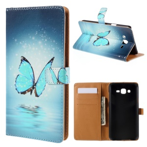 Wallet Leather Case Samsung Galaxy J7 SM-J700F with Stand - Blue Butterfly
