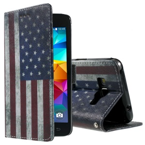 Callfree Leather Wallet Cover for Samsung Galaxy Grand Prime SM-G530H - Retro The Old Glory