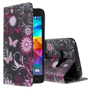 Callfree for Samsung Galaxy Grand Prime SM-G530H Leather Case Cover - Butterflies and Flowers