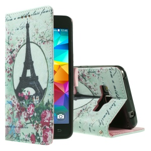 Callfree for Samsung Galaxy Grand Prime SM-G530H Leather Stand Cover - Eiffel Tower and Flowers