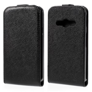Cross Texture Leather Vertical Case for Samsung Galaxy Xcover 3 SM-G388F - Black