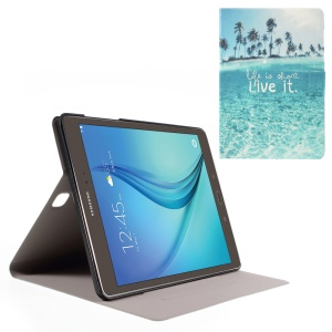 Sweet Fragrance Stand Leather Cover for Samsung Galaxy Tab A 9.7 T550 T555 - Seawater and Quote