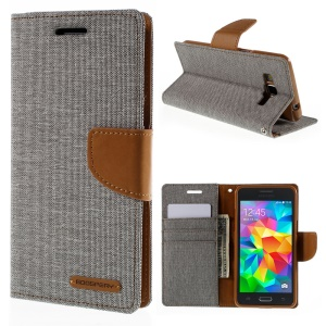 MERCURY GOOSPERY Canvas Leather Cover for Samsung Galaxy Grand Prime SM-G530H - Grey