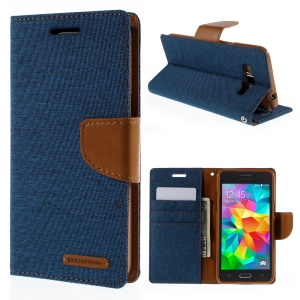 MERCURY GOOSPERY Canvas Leather Stand Case for Samsung Galaxy Grand Prime SM-G530H - Blue