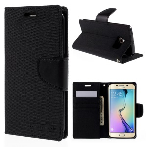 MERCURY GOOSPERY Canvas Leather Case for Samsung Galaxy S6 Edge G925 - Black