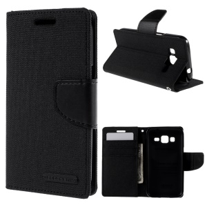 MERCURY GOOSPERY Canvas Leather Case for Samsung Galaxy Core Prime SM-G360 - Black