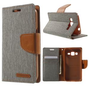 MERCURY GOOSPERY Canvas Leather Cover for Samsung Galaxy Core Prime SM-G360 - Grey