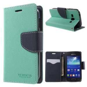 NEWSETS MERCURY Cross Texture Wallet Leather Cover for Samsung Galaxy Ace 3 S7272 - Cyan