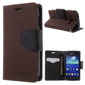 NEWSETS MERCURY Cross Texture Stand Leather Case for Samsung Galaxy Ace 3 S7275 - Brown