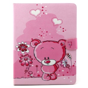 Flip Wallet Stand Leather Cover for iPad 2 3 4 - Bear and Flower