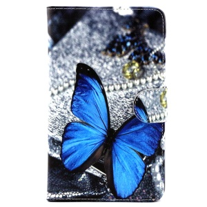 Wallet Leather Stand Cover for Samsung Galaxy Tab 4 7.0 T230 - Blue Butterfly