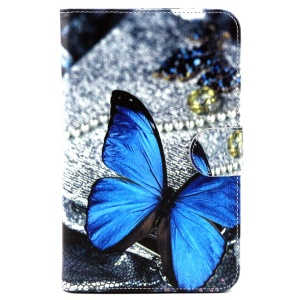 Wallet Leather Cover for Samsung Galaxy Tab 3 Lite 7.0 T110 T111 - Blue Butterfly