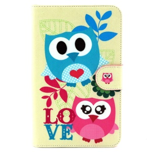 Wallet Leather Cover for Samsung Galaxy Tab 3 Lite 7.0 T110 T111 - Two Lovely Owls