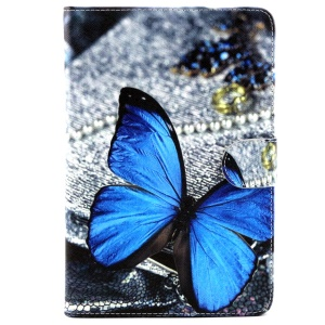 Wallet Leather Protective Case for Samsung Galaxy Tab A 8.0 T350 - Blue Butterfly
