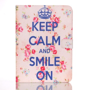 Smart Leather Case for Samsung Galaxy Tab 4 10.1 T530 - Pretty Roses and Quote Keep Calm and Smile On