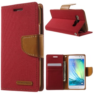 MERCURY GOOSPERY Canvas Leather Cover for Samsung Galaxy A3 SM-A300F - Red