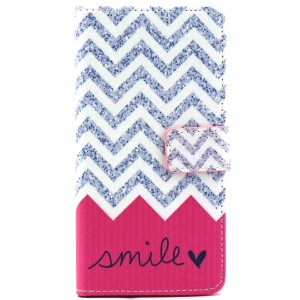 Patterned Wallet Leather Stand Cover for Galaxy Grand Prime SM-G530 - Chevron and Smile