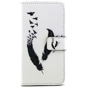 Feather Pattern Wallet Leather Cover for Samsung Galaxy S5 G900 / S5 Neo with Stand