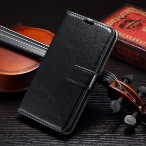 Crazy Horse Magnetic Leather Stand Case for Galaxy A8 SM-A800F - Black