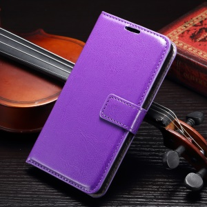 Crazy Horse Magnetic Leather Phone Case for Samsung Galaxy A8 SM-A800F - Purple