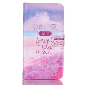 Wallet Leather Cover for Samsung Galaxy S5 G900 - Seaside and Quote