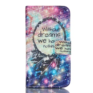 Leather Card Holder Case for Samsung Galaxy Core Prime SM-G360 - Dream Catcher and Quote