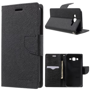 MERCURY Goospery Leather Wallet Case for Samsung Galaxy J5 SM-J500F with Stand - Black