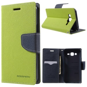 MERCURY Goospery Leather Wallet Cover para Samsung Galaxy J5 SM-J500F com suporte - verde