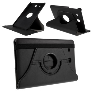 Twill Texture Leather Rotary Stand Cover for Samsung Galaxy Tab E 9.6 T560 - Black