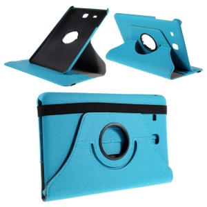 Twill Texture Leather Rotary Stand Case for Samsung Galaxy Tab E 9.6 T560 with Card Slots - Light Blue