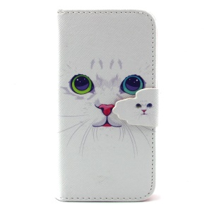 Leather Wallet Cover for Samsung Galaxy S4 Mini I9190 - Lovely Cat