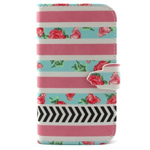 Leather Wallet Stand Cover for Samsung Galaxy S3 I9300 - Stripes and Roses