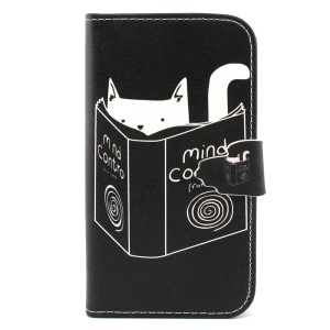 Leather Wallet Stand Shell for Samsung Galaxy S3 I9300 - Cat Reading Book