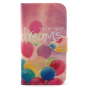 Wallet PU Leather Phone Cover for Samsung Galaxy S3 I9300 with Stand - Colorful Balloons