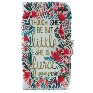 Wallet Protective PU Leather Phone Case for Samsung Galaxy S3 I9300 - Quote and Flower
