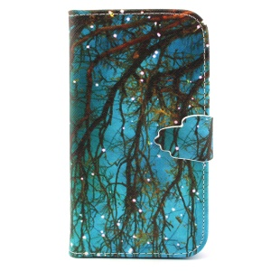 Flip Wallet Leatherette Stand Cover for Samsung Galaxy S3 I9300 - Tree with Mini Light