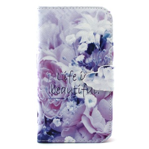 Wallet PU Leather Cover Shell for Samsung Galaxy S3 I9300 - Life Is Beautiful and Flower