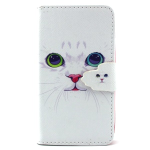 For Samsung Galaxy S III Mini I8190 Leather Flip Case Wallet - White Cat