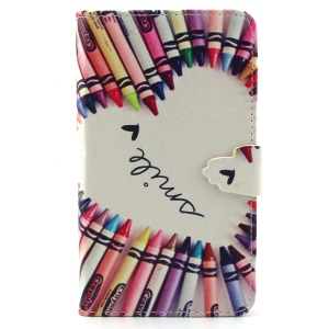 Crayons Circled Heart PU Leather Wallet Cover for Samsung Galaxy Note 4 N910