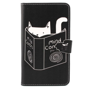 Cat Reading Book Wallet Leather Protective Case for Samsung Galaxy Note 4 N910