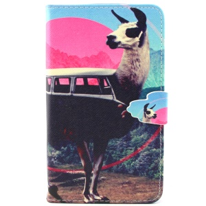 Goat Pattern Wallet PU Leather Protective Cover for Samsung Galaxy Note 4 N910