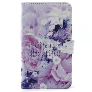 Life Is Beautiful and Flower Wallet Leatherette Cover Shell for Samsung Galaxy Note 4 N910