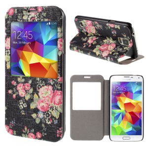 Flower Pattern View Window Leather Case for Samsung Galaxy S5 G900