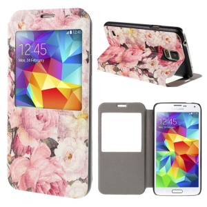 Beautiful Flower View Window Leather Stand Cover for Samsung Galaxy S5 G900