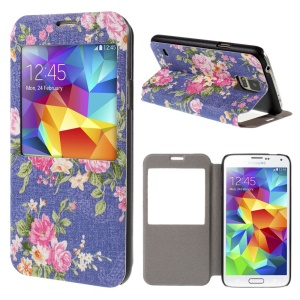 For Samsung Galaxy S5 G900 Flower Pattern View Window Leather Stand Cover