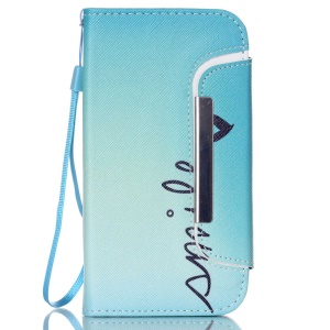 Detachable Wallet Leather Phone Case for Samsung Galaxy S5 G900 / S5 Neo G903F - Smile