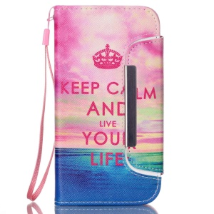 Detachable Wallet Leather Cover for Samsung Galaxy S5 G900 / S5 Neo G903F - Keep Calm and Live Your Life